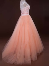 A-Line Sashes Scoop Neck Appliques Beading Long Prom Dress