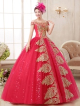 Off-the-Shoulder Sequins Ball Gown Appliques Floor-Length Quinceanera Dress
