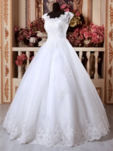 Straps Beading Lace Appliques Ball Gown Wedding Dress