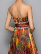 A-Line Strapless Printed Beading Pleats Asymmetry Cocktail Dress