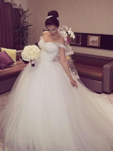 Off the Shoulder Beading Lace-Up Ball Gown Wedding Dress