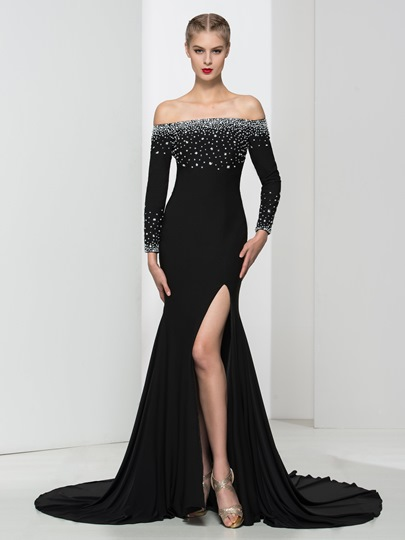 Long Sleeves Off-the-Shoulder Trumpet Beading Court Train Evening Dress