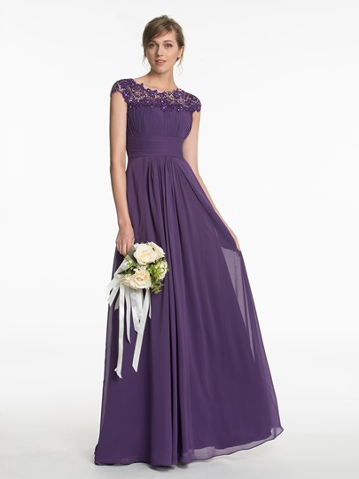 Scoop Neck Lace Ruched A-Line Floor-Length Bridesmaid Dress