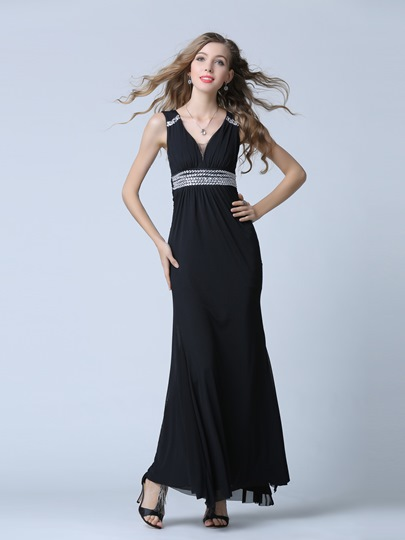 V-Neck Sheath Beading Pleats Floor-Length Evening Dress