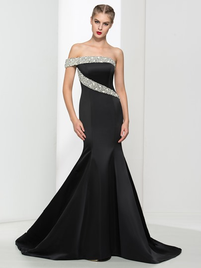 Mermaid Rhinestone One-Shoulder Pearls Court Train Evening Dress