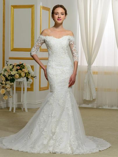 Half Sleeves Appliques Off-The-Shoulder Mermaid Wedding Dress
