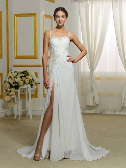 Spaghetti Strap Split-Front Beading Ruched Wedding Dress