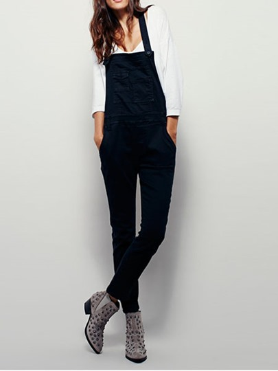 Denim Gallus Rivet Patchwork Women's Overalls