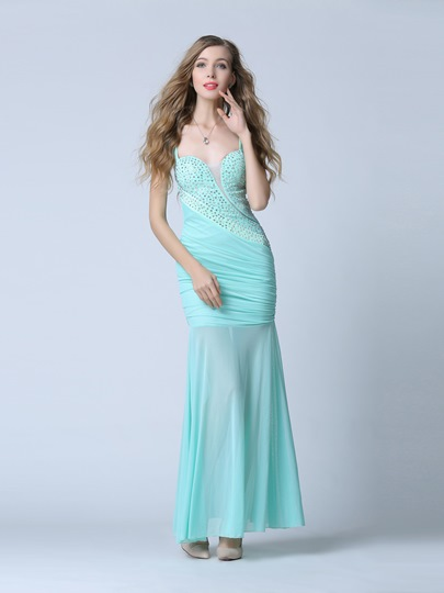 Straps Trumpet Beading Pick-Ups Evening Dress