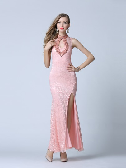 High Neck Column Beading Split-Front Evening Dress