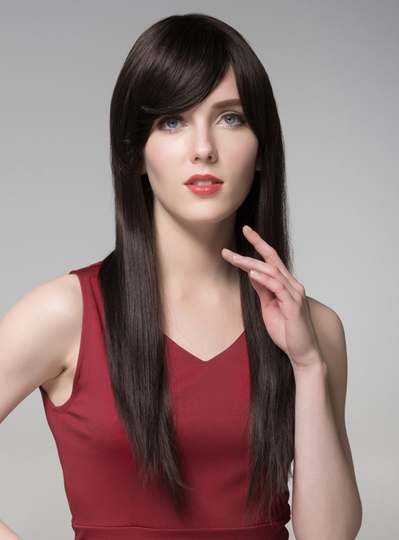 Super Long Straight Natural Black Human Hair Wigs 24 Inches