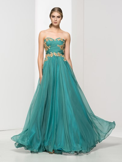 A-Line Draped Appliques Sequins Prom Dress