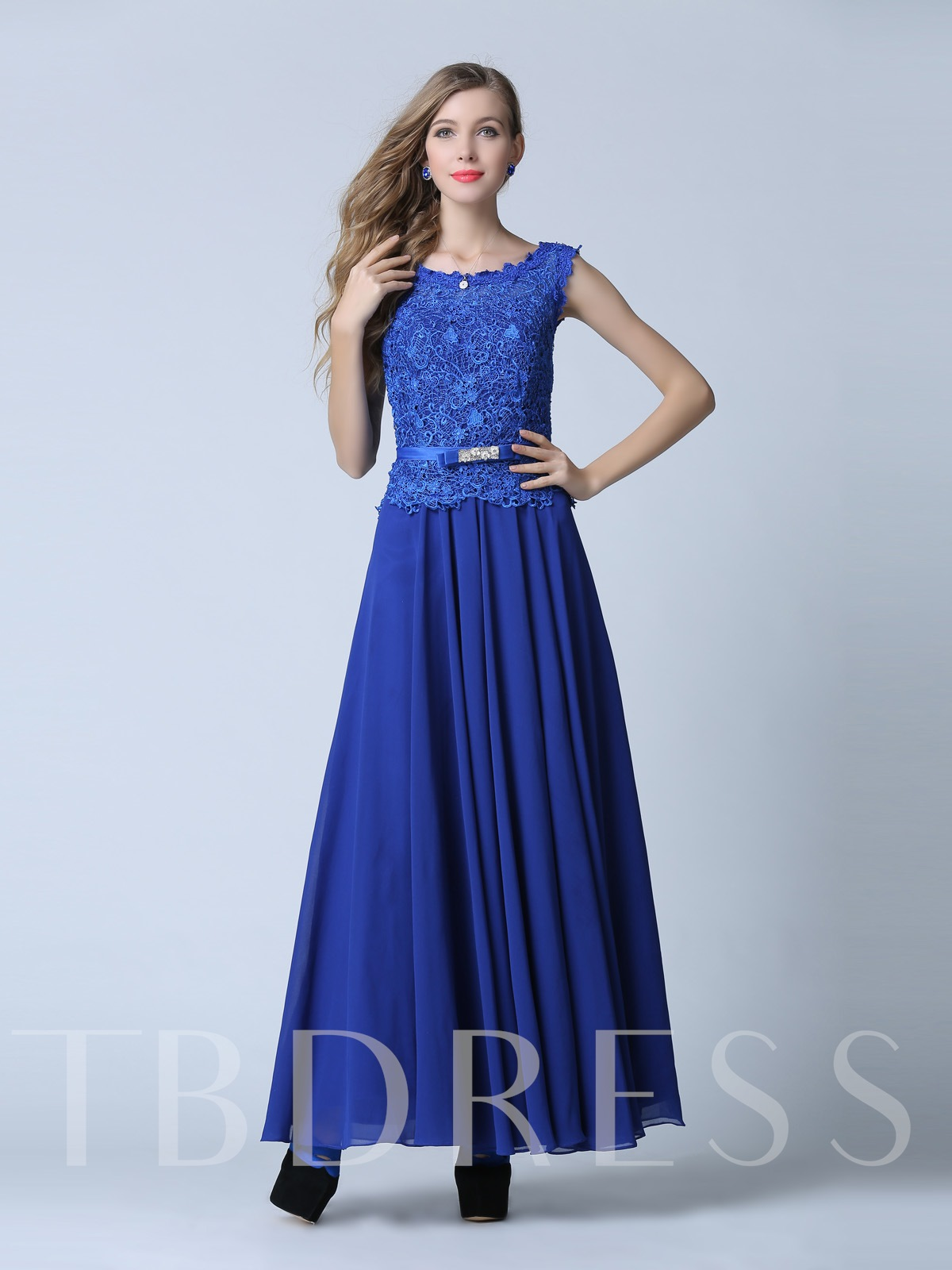 Image of A-Line Scoop Lace Sashes Floor-Length Evening Dress