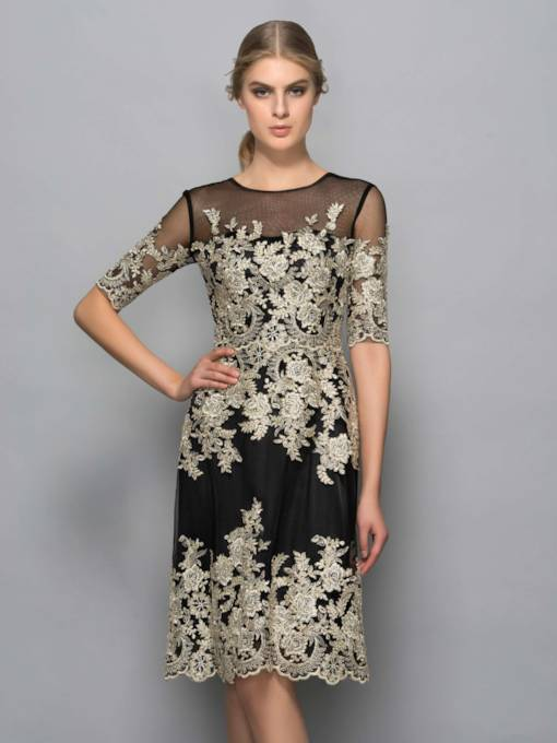 Half Sleeves Scoop Sheath Appliques Knee-Length Formal Dress