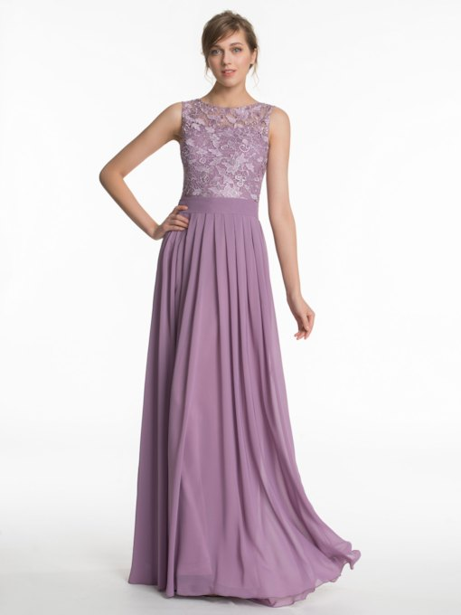 Lace Scoop Neck A-Line Bridesmaid Dress