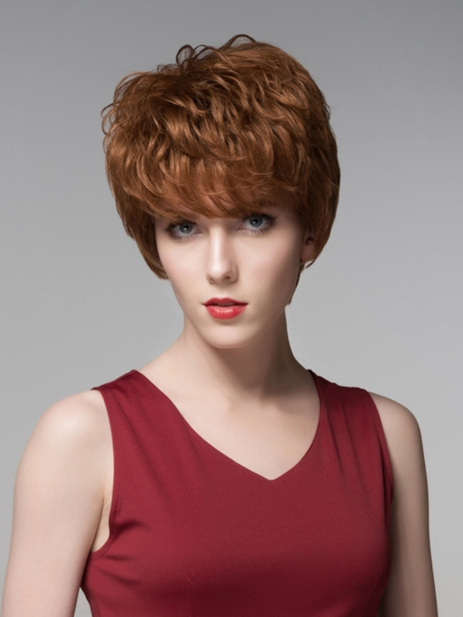 Charming Short Straight Human Hair Wig 6 Inches