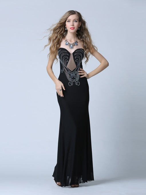 Sheath Sweetheart Beading Zipper-Up Evening Dress