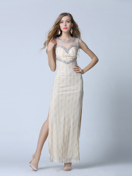 Sheath Scoop Neck Beading Lace Split-Side Evening Dress