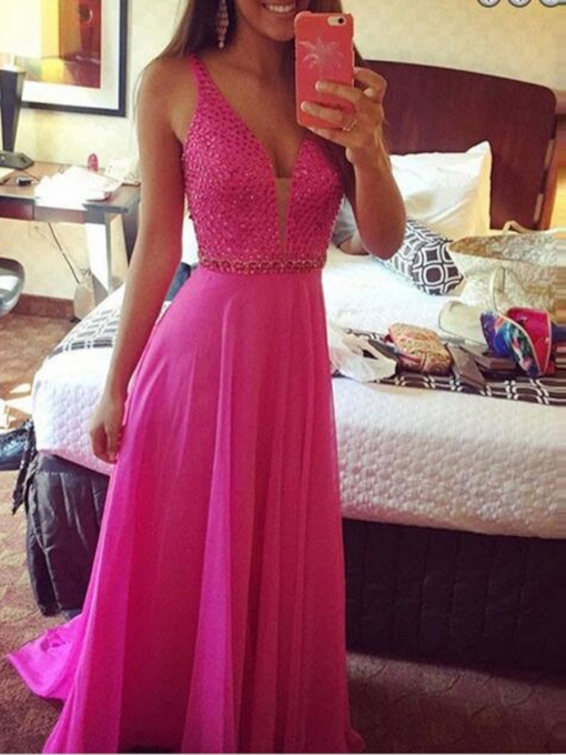 V-Neck A-Line Beading Court Train Prom Dress