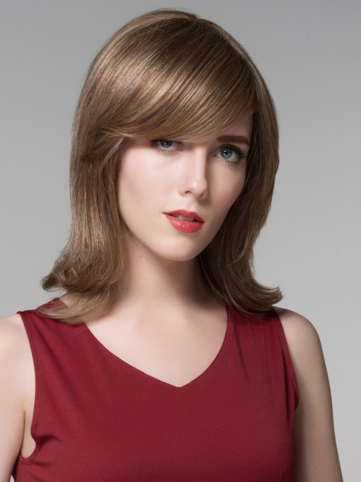 Fluffy High Quality Mediuim Straight Human Hair Wigs 14 Inches
