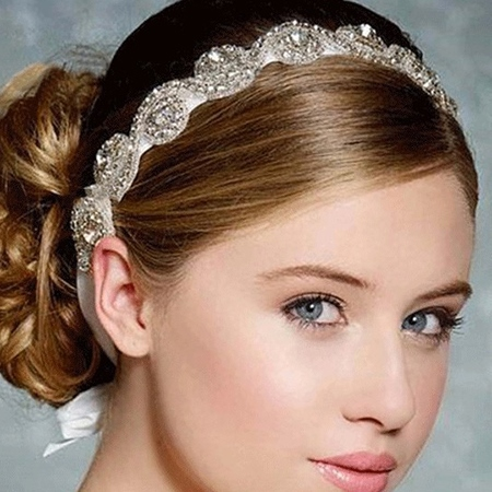 Posh Shiny Rhinestone Decor for Bride Hair Band