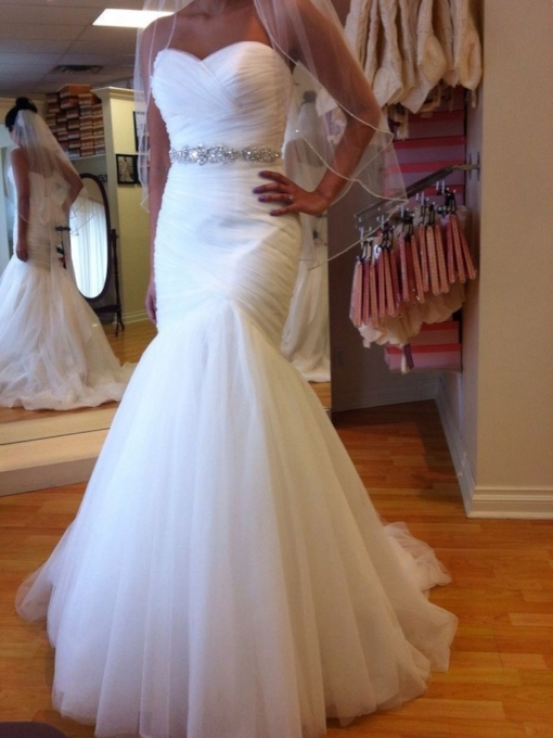 Beaded Belt Pleats Mermaid Plus Size Wedding Dress