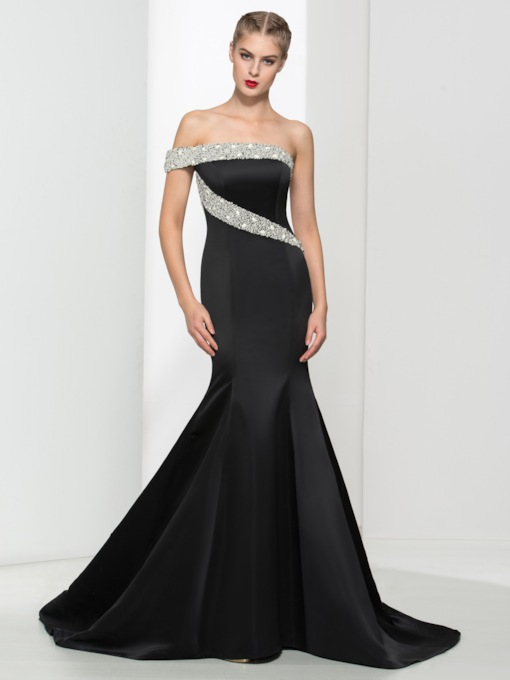 One Shoulder Pearls Mermaid Evening Dress
