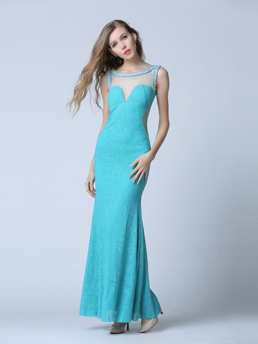 Scoop Column Beading Lace Rhinestone Evening Dress