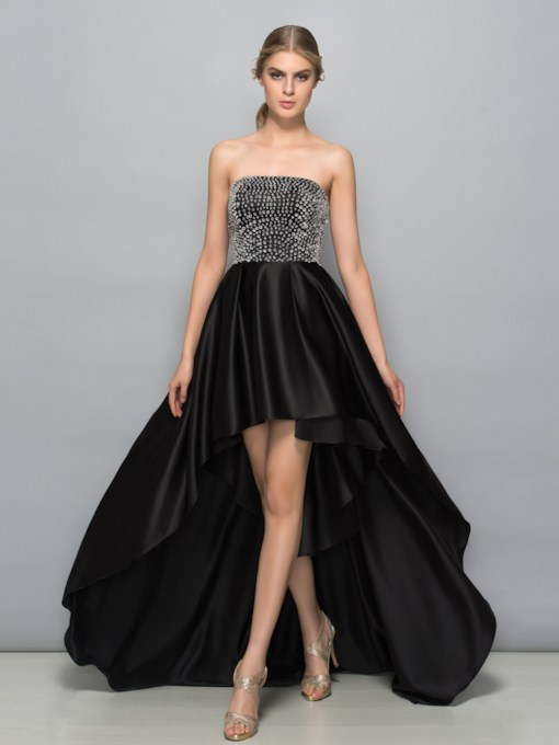A-Line Strapless Beading High Low Prom Dress