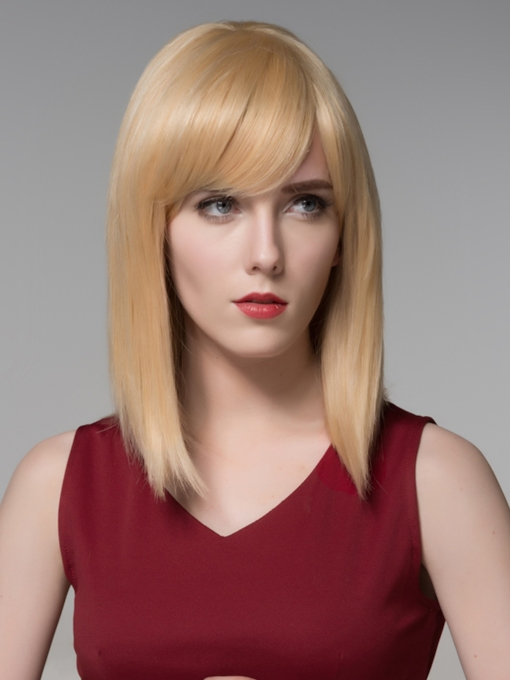 Medium Silk Straight Beautiful Human Hair Capless Wig 14 Inches