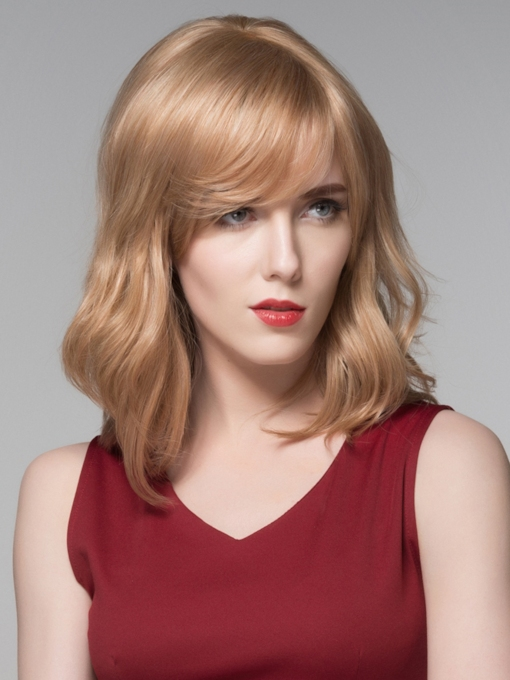 Elegant Medium Loose Wavy Human Hair Wigs 14 Inches