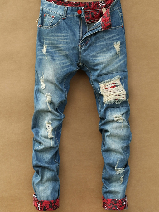 Men's Distressed Jeans with Mid Waist