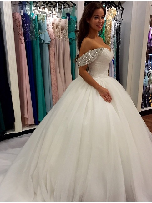 Beading Appliques Chapel Train Wedding Dress