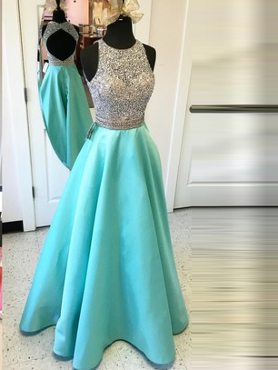A-Line Beaded Jewel Neck Rhinestone Prom Dress