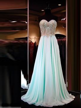 A-Line Sleeveless Sweetheart Appliques Floor-Length Prom Dress