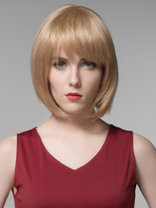 Medium BOB Beautiful Human Hair Capless Wig 12 Inches