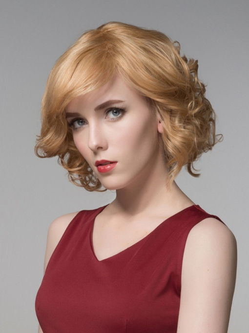 Sweety Short Wavy Capless Human Hair Wig 10 Inches