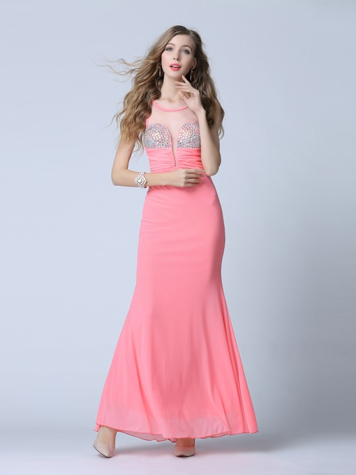 Scoop Sheath Rhinestone Pleats Floor-Length Evening Dress