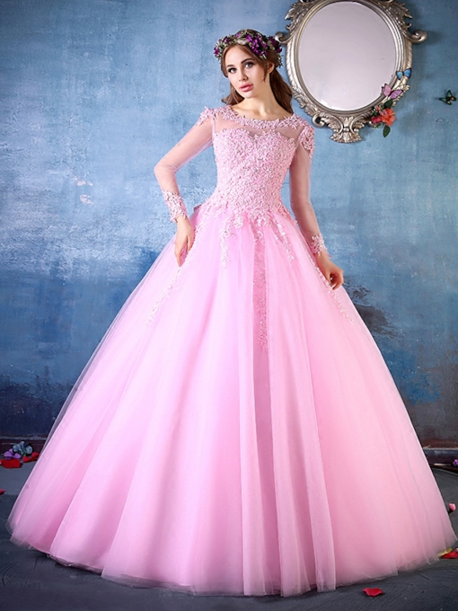 Long Sleeves Scoop Ball Gown Appliques Beading Quinceanera Dress