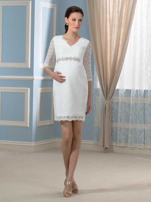 Half Sleeves V-Neck Lace Sheath Beach Maternity Wedding Dress