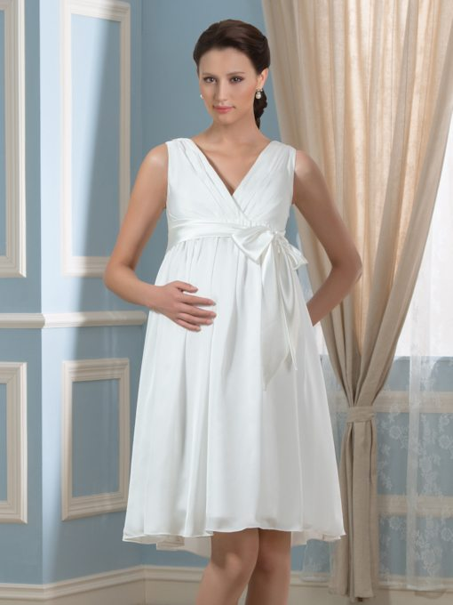 V-Neck A-Line Knee-Length Maternity Wedding Dress