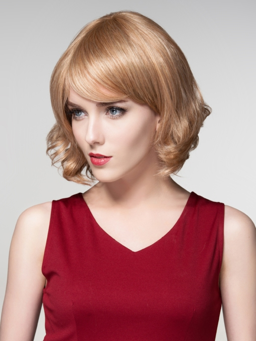 Wavy Short BOB Human Hair Capless Wigs 12 Inches