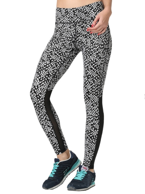 Grid Honeycomb Printed Springy Women's Running Leggings