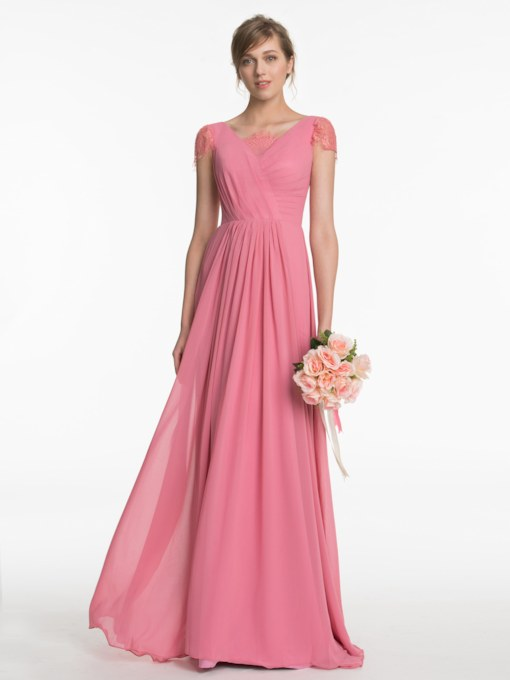 Lace Cap Sleeves Ruched Long Bridesmaid Dress