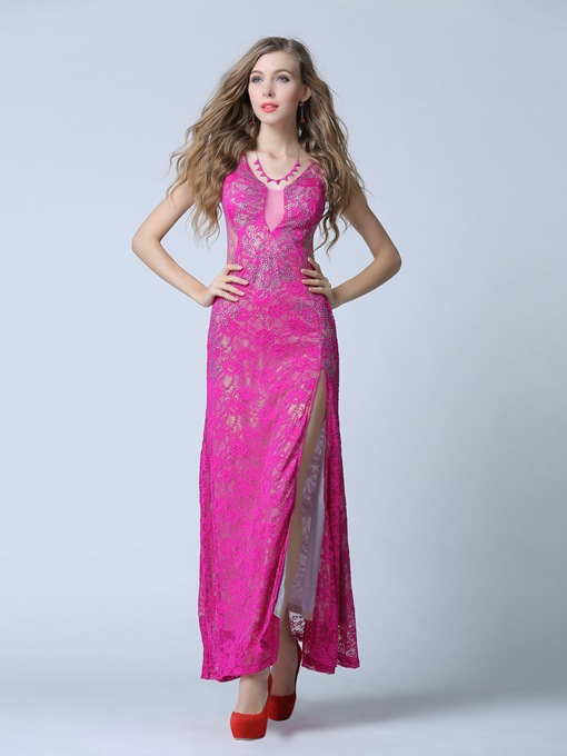 Sheath V-Neck Beading Lace Floor-Length Evening Dress