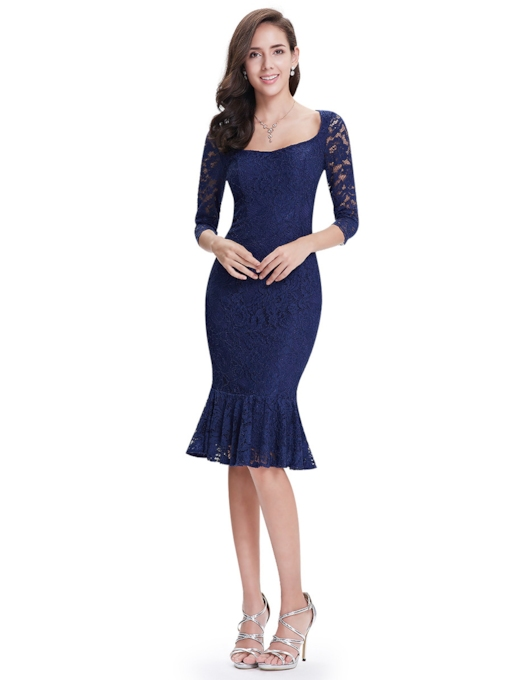 Bateau Neck Sheath 3/4 Length Sleeves Lace Knee-Length Cocktail Dress