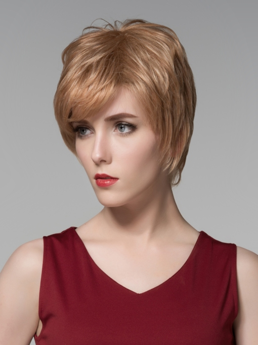 Fluffy Short Straight Capless Human Hair Wig 6 Inches
