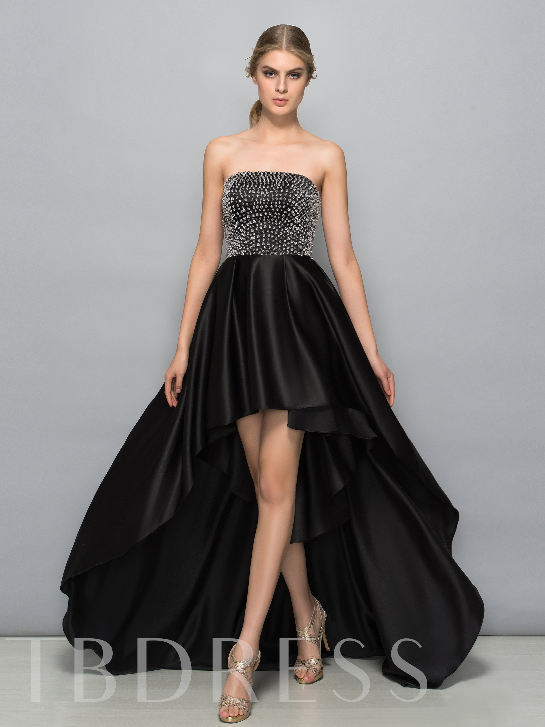 A-Line Strapless Pearls High Low Prom Dress 11680370
