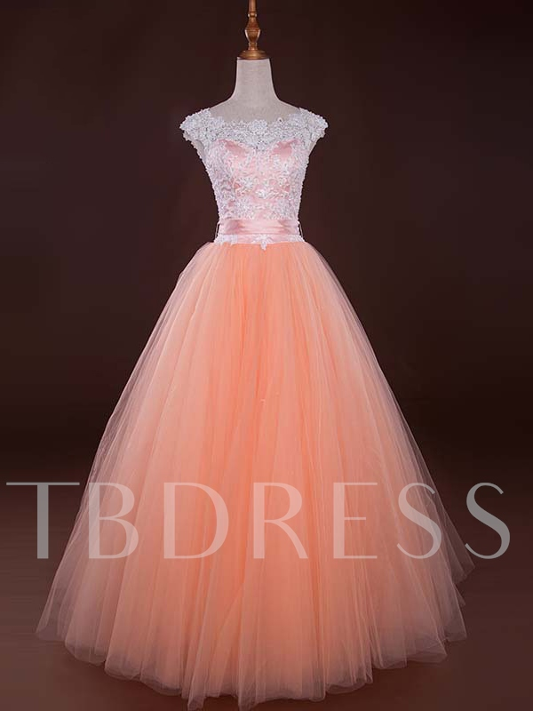 Image of A-Line Sashes Scoop Neck Appliques Beading Long Prom Dress