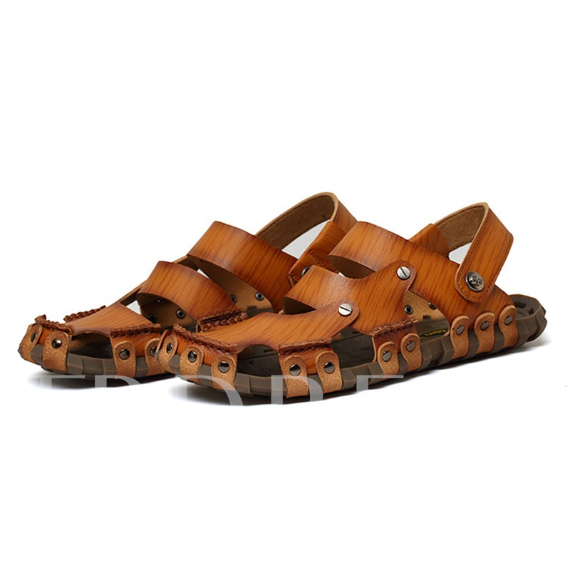 Round Toe Hollow Flat Heel Plain Men's Sandals